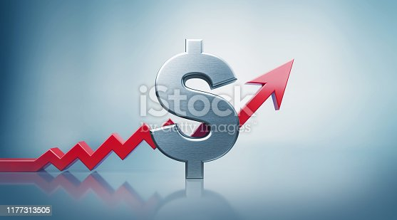 istock American Dollar with Red Arrow Moving Up on Defocused Background 1177313505