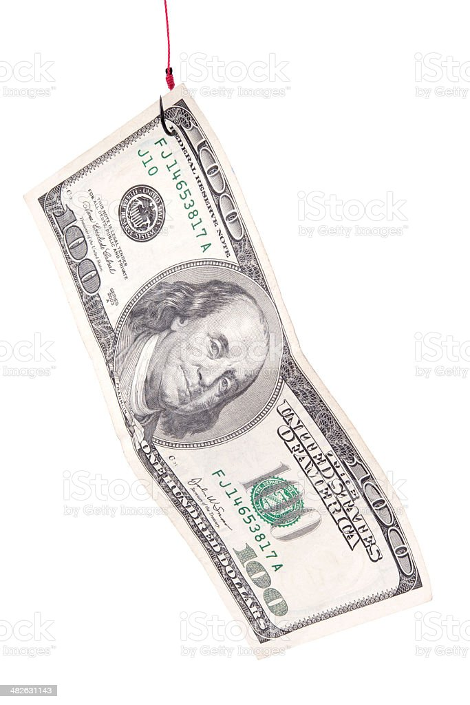American Dollars Attached on Fish Hook royalty-free stock photo