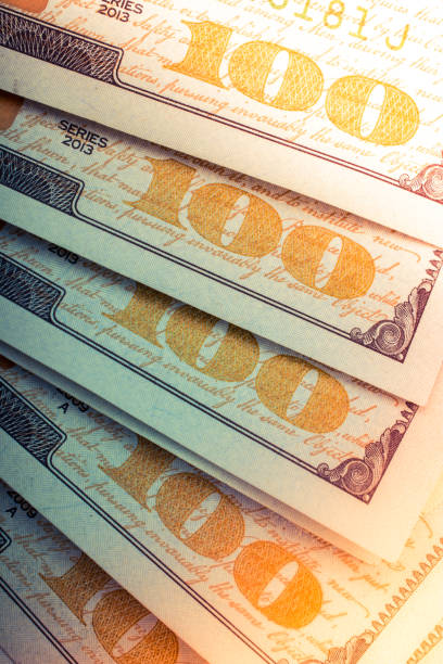 American Dollars Cash Money. Banknote in close up view stock photo