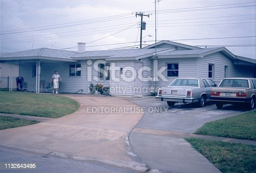 Florida, United States, 1977. The American Lifestyle with house, estate, car and family.