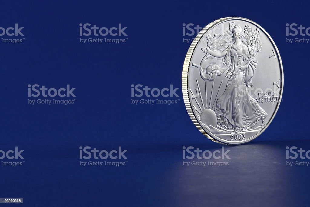 American Eagle 2003 Silver Dollar Coin Profile Obverse (Head) Side stock photo