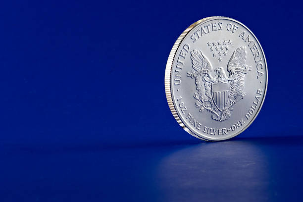 American Eagle 2003 Silver Dollar Coin Profile (Reverse) stock photo