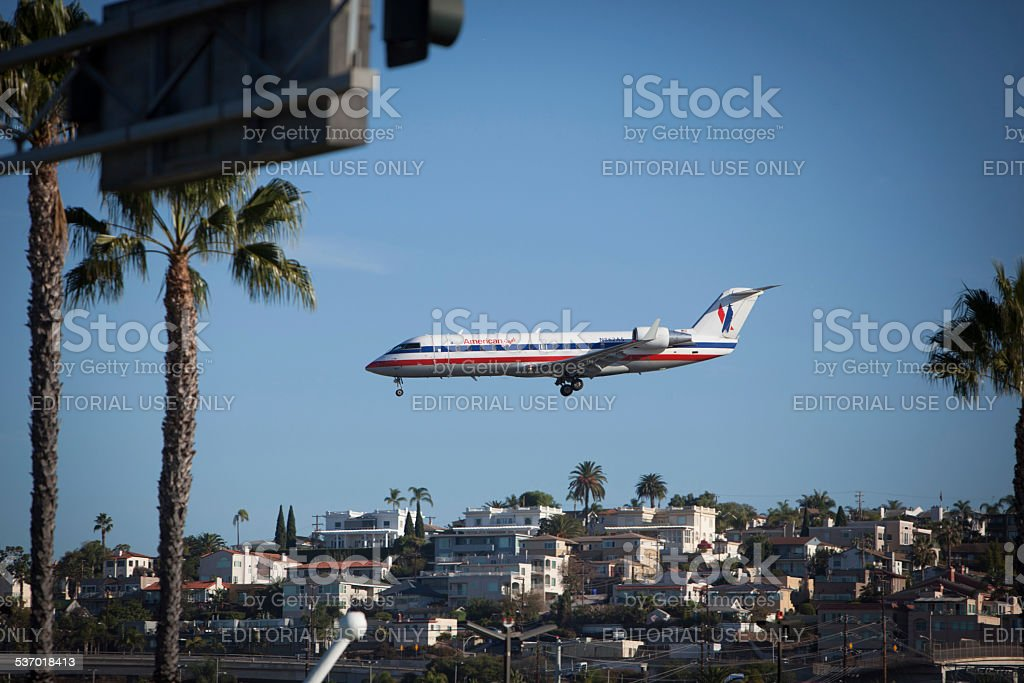 American Eagle flight approaching San Diego Airport. stock photo