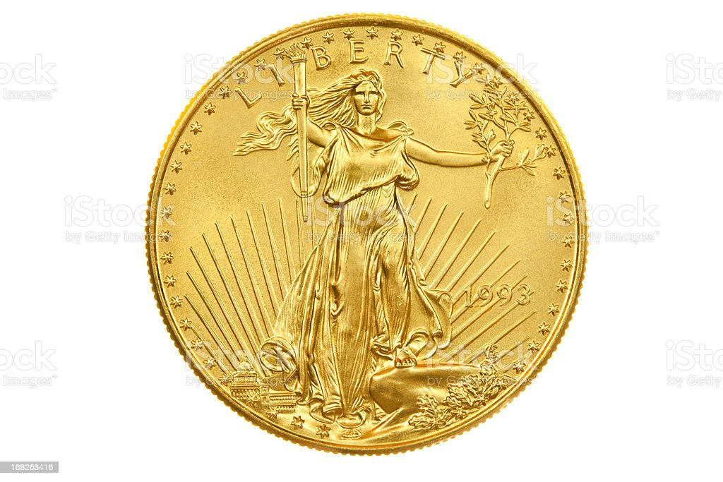 American Eagle Investment Obverse Gold Münze Kantille Stock