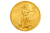 Official gold bullion coin of the United States of America.  22 karat gold.  Augustus Saint-Gaudens' design portrays Lady Liberty with flowing hair.  The coin is $50.00 in denomination.