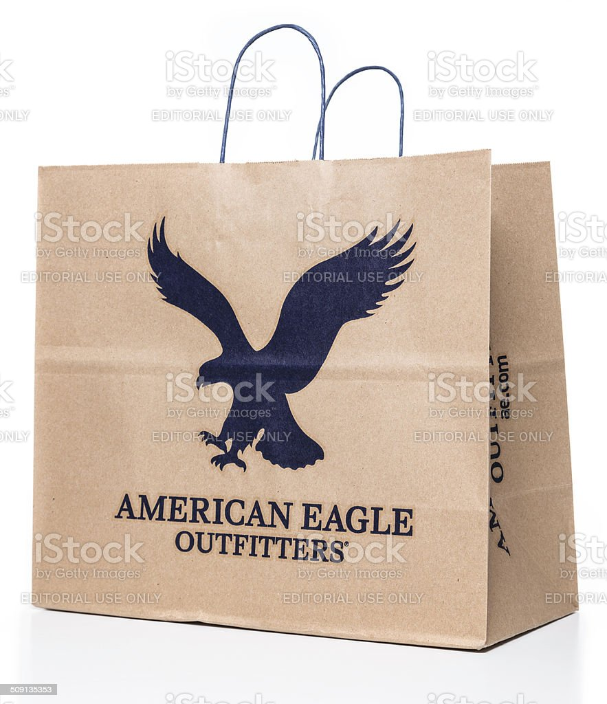 American Eagle Outfitters paper bag stock photo