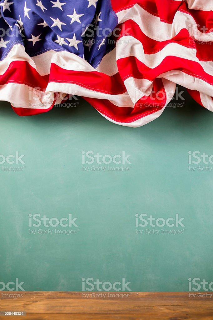 Amerikanische Bildung Usaflagge Schule Klassenzimmer Tafel ...