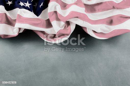 953130996 istock photo American education. USA flag, school classroom chalkboard.  Old-fashioned. 538452926