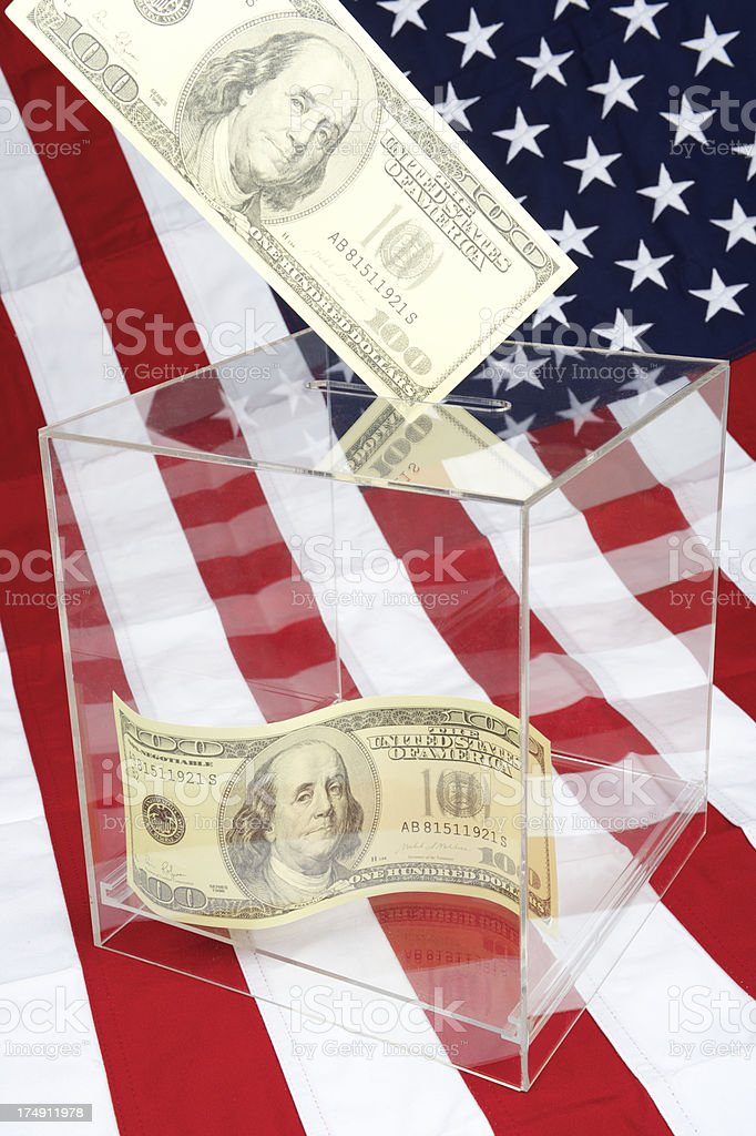 American Election Ballot Box with Oversize Fake Dollars stock photo