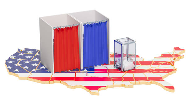 American election concept, ballot box with voting booths on map of the USA. 3D rendering isolated on white background stock photo
