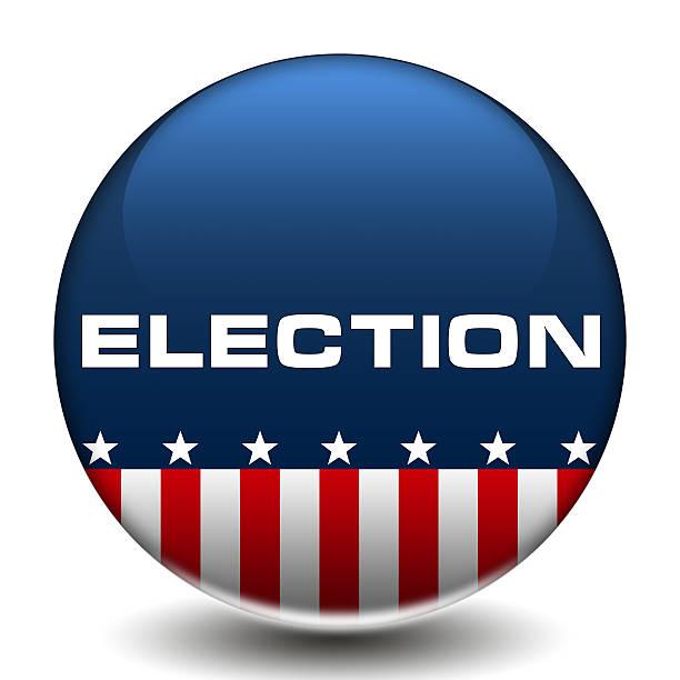 американские выборы голосования значок на пуговицах с логотипом - кандидат на пост президента стоковые фото и изображения