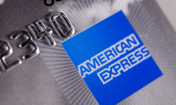 American express card extreme close up stock photo