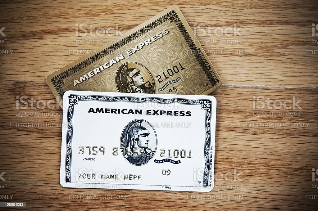 American Express Credit Cards New York, New York, USA - July 23, 2011: A horizontal studio shot of two American Express credit cards samples ready to apply for. American Culture Stock Photo
