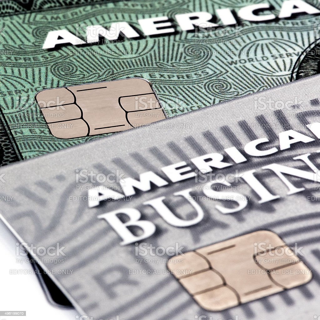 American Express EMV Chip Cards stock photo