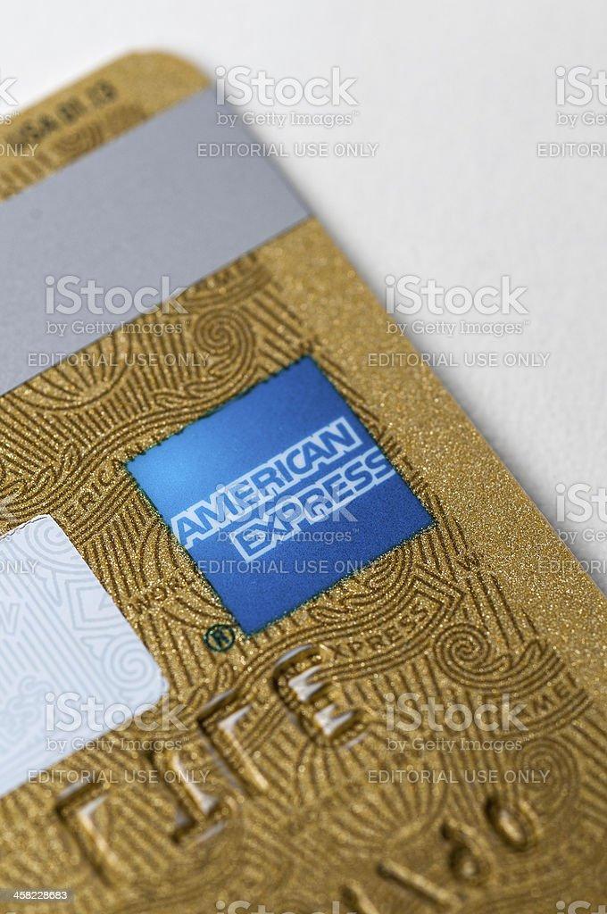 La tarjeta de crédito American Express oro trasera detalle - foto de stock
