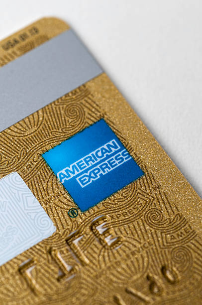 American Express Gold credit card back detail stock photo