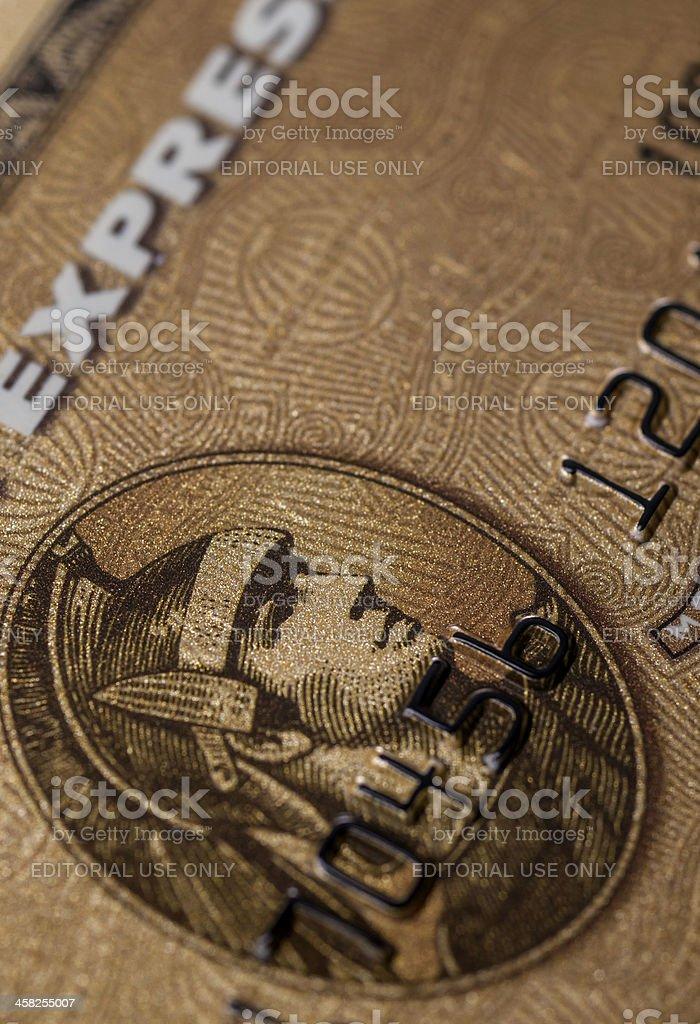 La tarjeta de crédito American Express detalles de oro - foto de stock