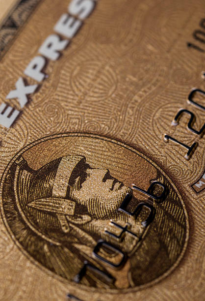 American Express Gold credit card detail stock photo