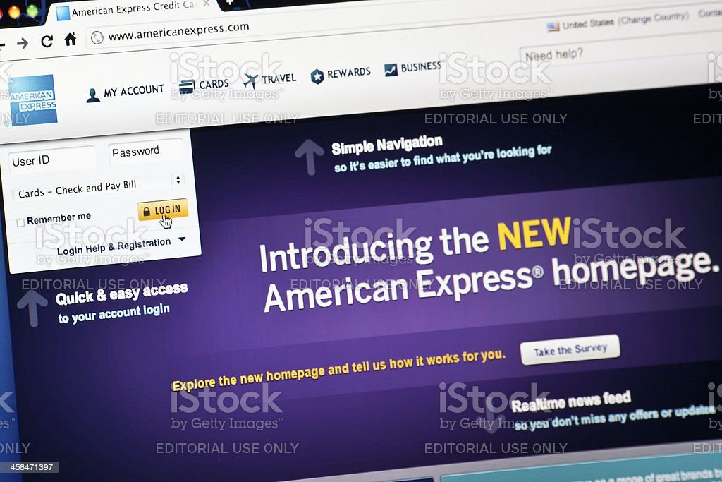 American Express Home Page royalty-free stock photo