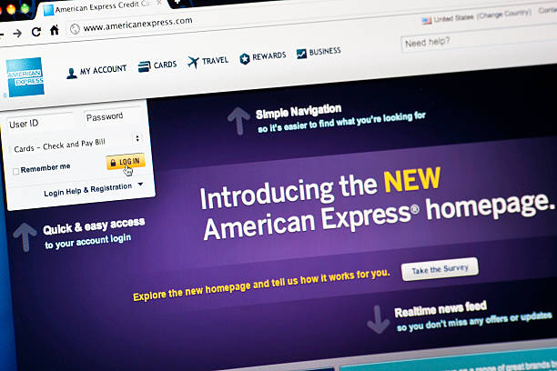 American Express Home Page stock photo