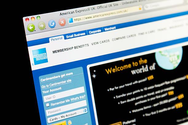 American Express Website. stock photo