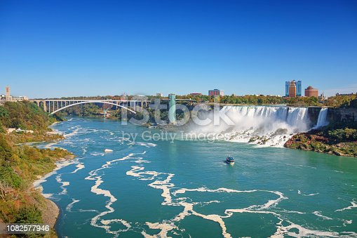 Stock photograph of the American Falls and Rainbow Bridge in Niagara Falls, Ontario, Canada and New York state, USA on a sunny day