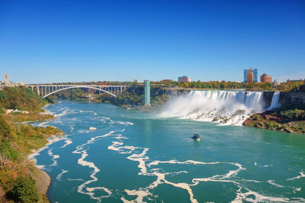 American Falls and Rainbow Bridge in Niagara Falls Stock photograph of the American Falls and Rainbow Bridge in Niagara Falls, Ontario, Canada and New York state, USA on a sunny day rainbow bridge ontario stock pictures, royalty-free photos & images