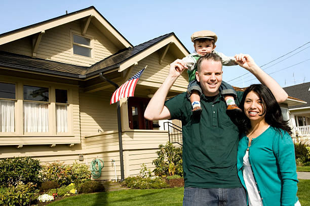 American Family at Home stock photo