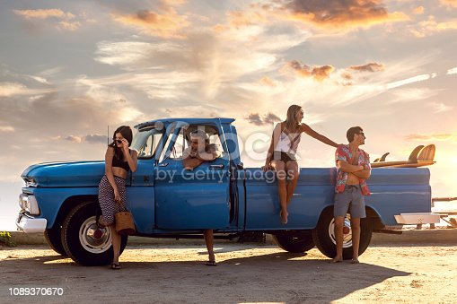 American family going to the beach on holidays