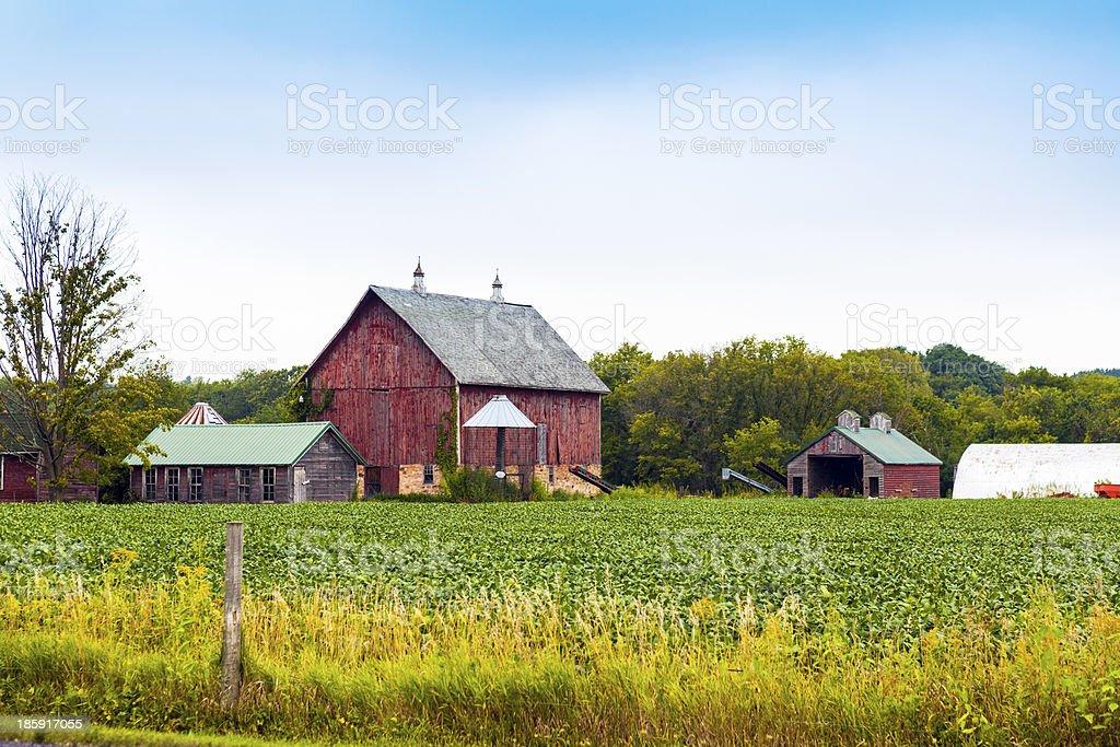 American Farmland With Blue Cloudy Sky stock photo