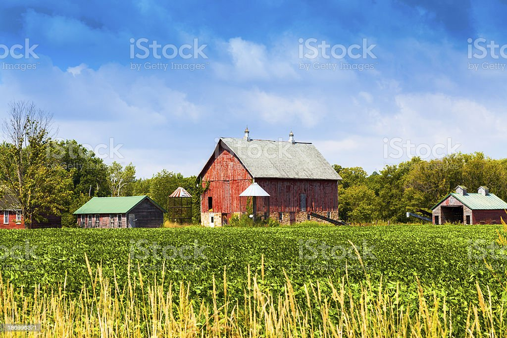 American Farmland With Blue Cloudy Sky royalty-free stock photo