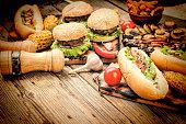 American fast food, Food Festival, Hamburgers, French fries, hot