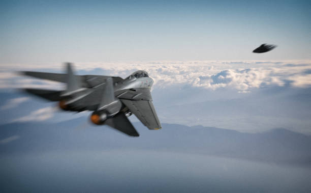 American Fighter Jet And UFO stock photo