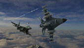 American fighter jet avoiding the missile from russian jet dogfight scene 3d render
