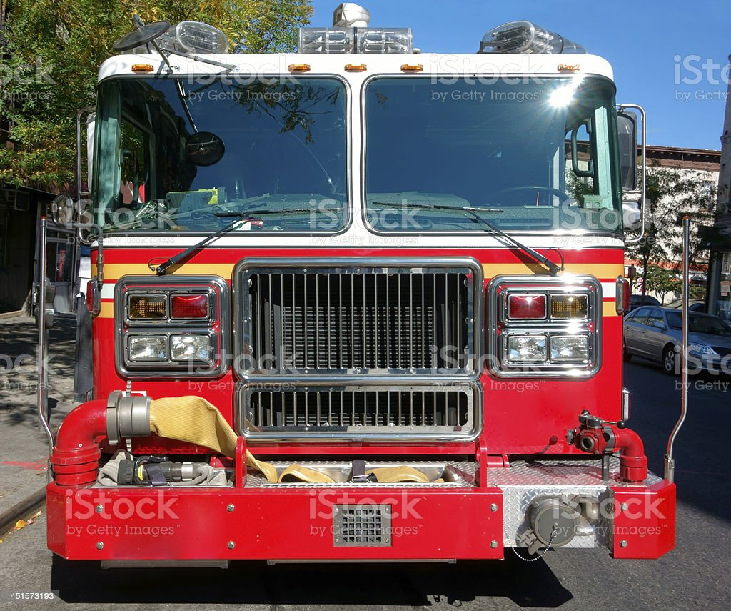 front of a American firetruck