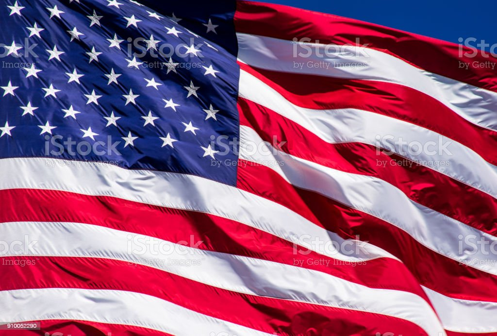American flag a symbol of Freedom around the world stock photo