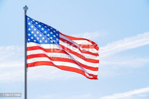 istock American flag against blue sky 1154121556