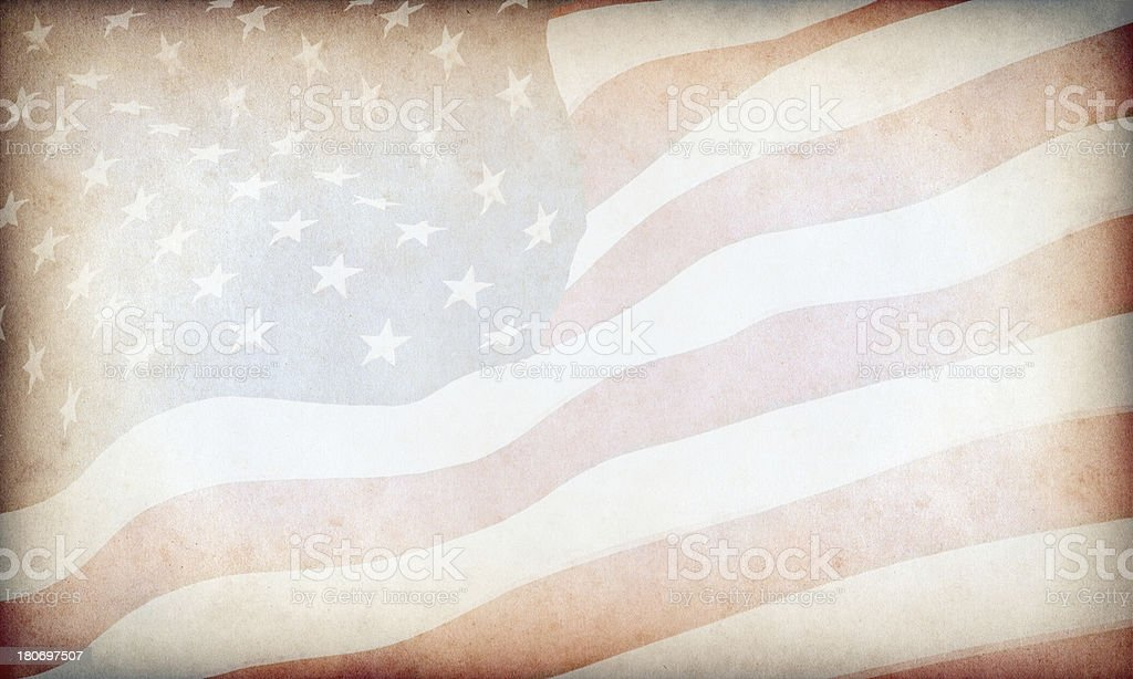 American Flag Aged Paper stock photo