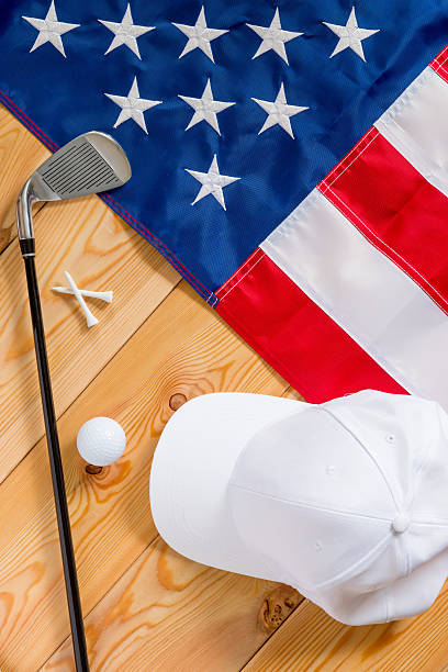 American flag and a set of golf view from above stock photo