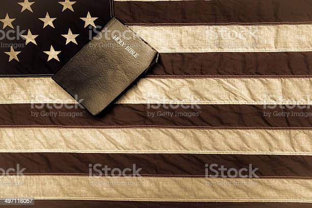 American Flag And Bible Stock Photo - Download Image Now