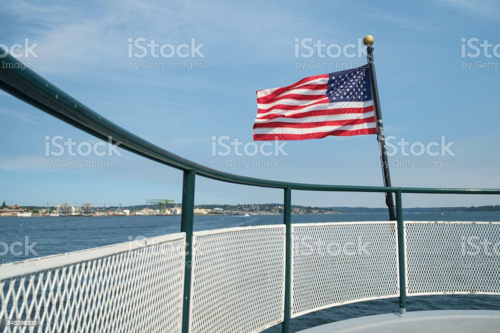 American flag and boat rail stock photo