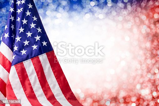 istock American flag and bokeh background with copy space for 4 july independence day and other celebration 681766366