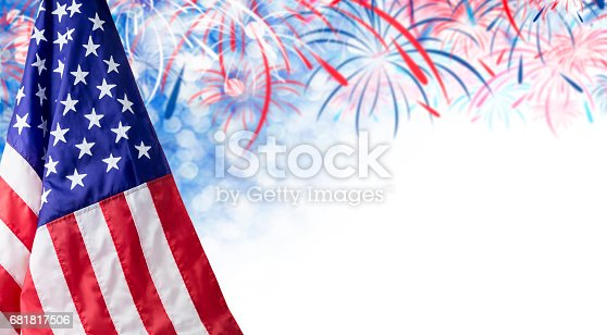 istock American flag and bokeh background with firework and copy space for 4 july independence day and other celebration 681817506