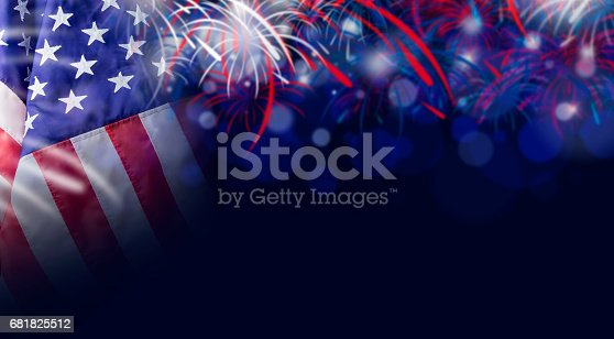 istock American flag and bokeh background with firework and copy space for 4 july independence day and other celebration 681825512