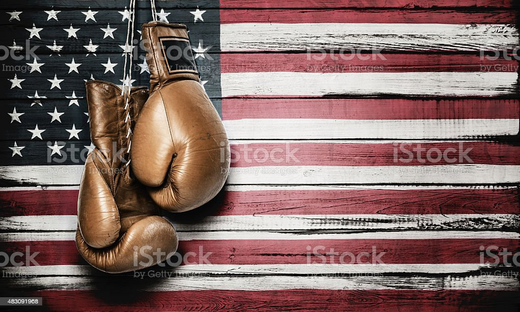 American flag and boxing gloves stock photo
