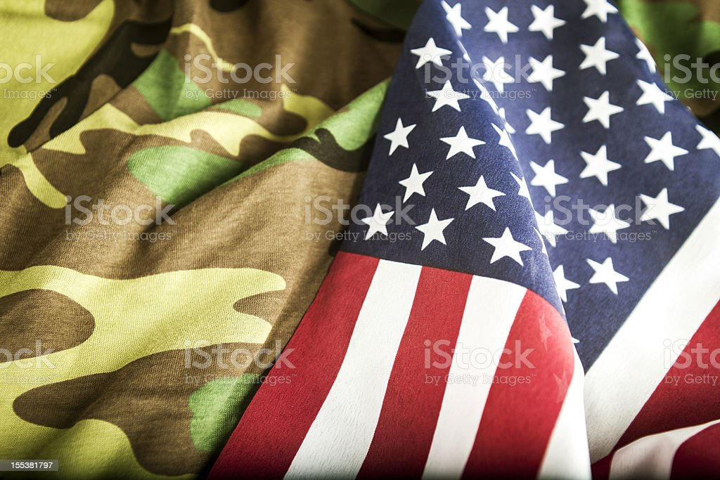 American Flag and Camoflage royalty-free stock photo