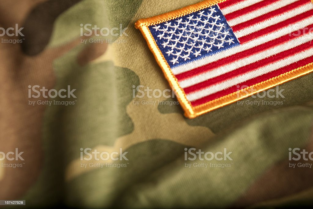 American Flag and Camoflage (Series) stock photo