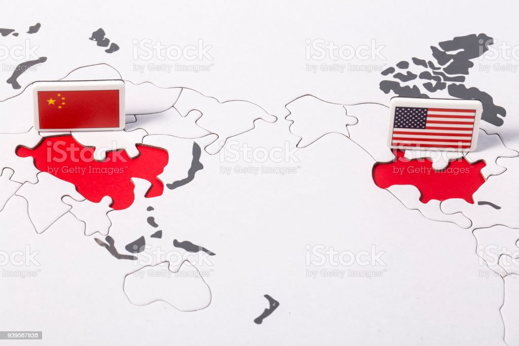 American flag and chinese flag over world map stock photo more american flag and chinese flag over world map royalty free stock photo gumiabroncs Images