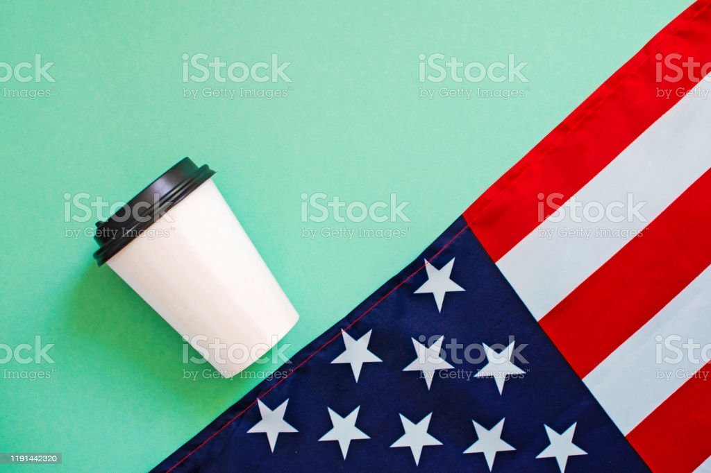 American Flag And Coffee Paper Cup On Green Background Stock Photo Download Image Now Istock