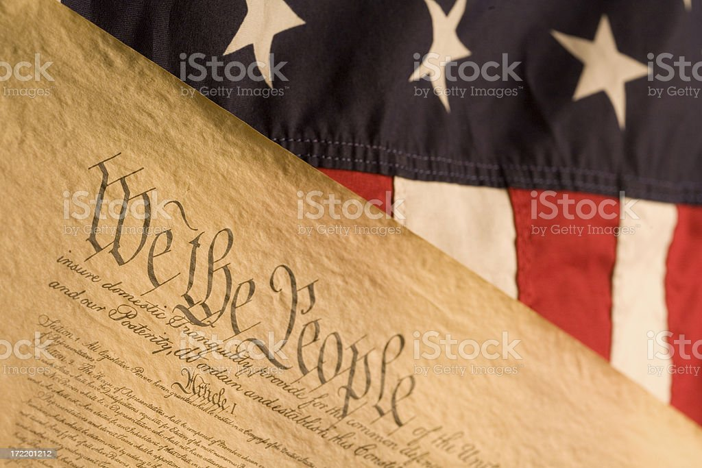 American Flag and Declaration of Independance royalty-free stock photo